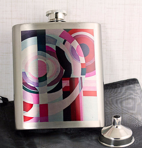 Art Deco Geometric Stainless Flask from DecorativeDesignWorks.com