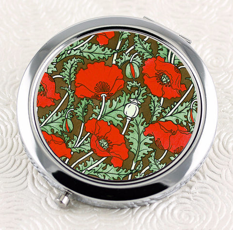 Art Nouveau Poppy Compact Mirror from DecorativeDesignWorks.com