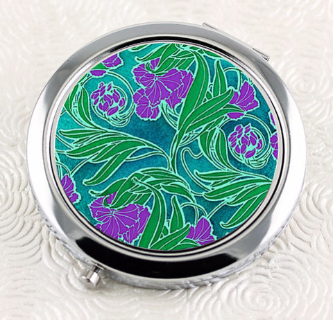 Art Nouveau floral ladies compact mirror