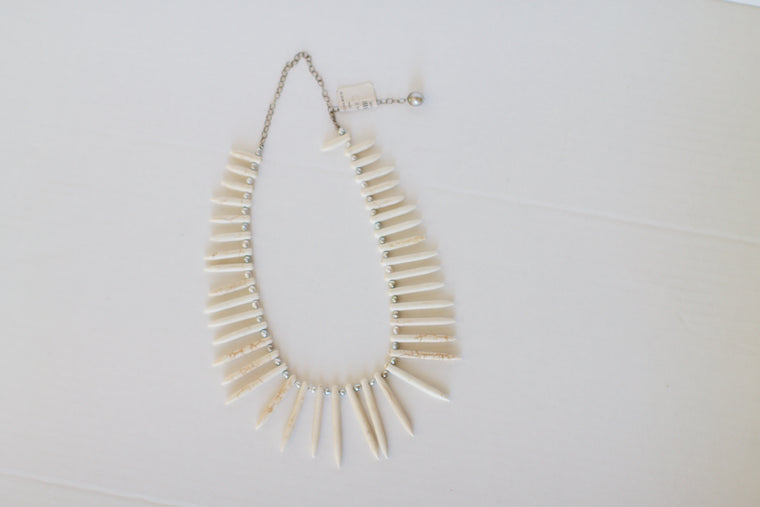 White Howlite Spikes Necklace