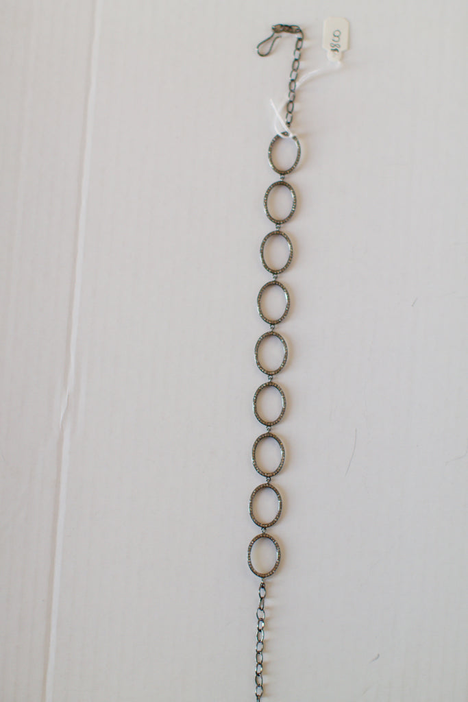Gunmetal Choker with Pave Diamonds