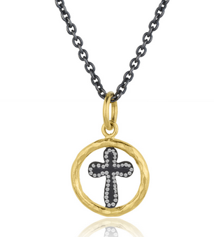 Cirlce Chunky Cross Necklace