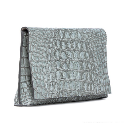 Foldover Clutch Sage Embossed