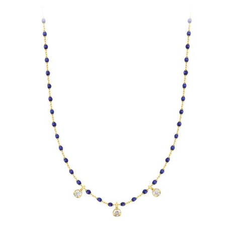 Necklace/ 3 diamonds/ Lapis