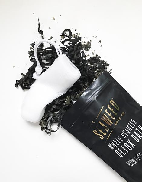 Whole Seaweed Detox Bath Package with Dried Seaweed and Mesh Bag Spilling Out
