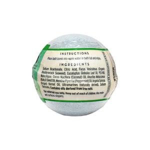 Back of Hydrating Bath Bomb in Eucalyptus & Peppermint