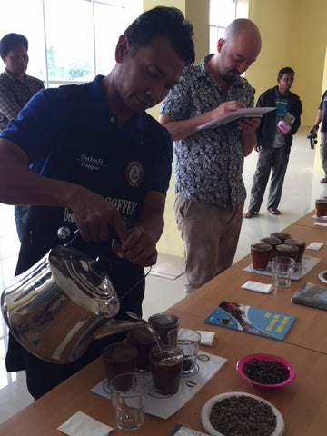 Cupping session in Sumatra.