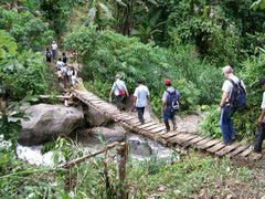 Crossing a wooden bridge by foot on our way to the coffee fields in Peru | Bean North Coffee Roasting Co. Ltd.