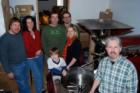 Bean North staff prepare the roaster 'Big Red' for shipment to Nicaragua