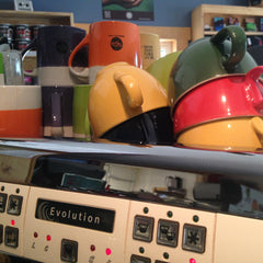 Colourful coffee cups at Bean North Coffee Roasting's cafe, Whitehorse, Yukon