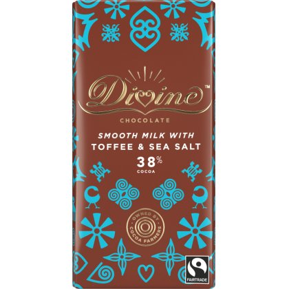 Divine Milk Chocolate Bar with Toffee & Sea Salt - Bean North Coffee Roasting