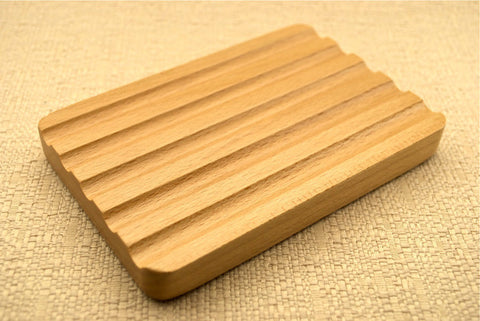 Beechwood Soap Dish - Large Grooved