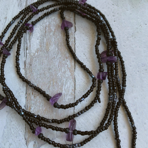Amethyst Protection Waist Bead Strand