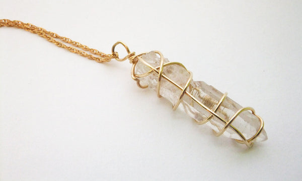 Gold Wire Wrapped Crystal Quartz