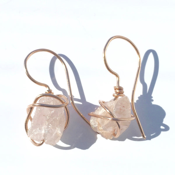 Rose Gold & Rose Quartz Wire Wrapped Earrings