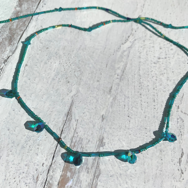 Trill Teal Beaded Waist Bead 36''