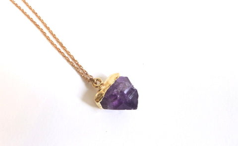 Amethyst Crystal Point Necklace dipped in Gold