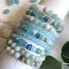Aquamarine 8mm Gemstone Stack Bracelet Set of 3