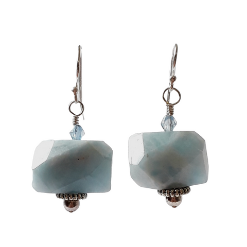 Aquamarine Dangle Silver Earrings