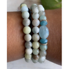 Aquamarine Gemstone Stack Bracelet Set of 3
