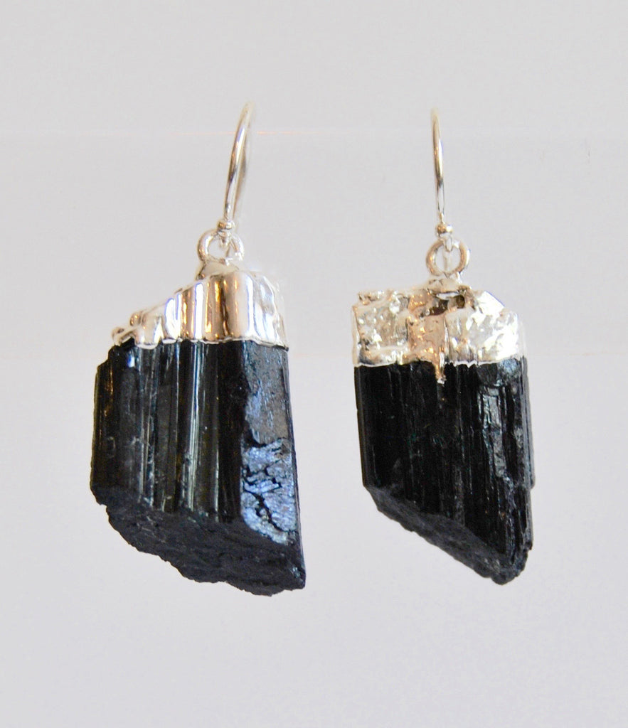 Black Tourmaline Crystal Earrings dipped in Silver