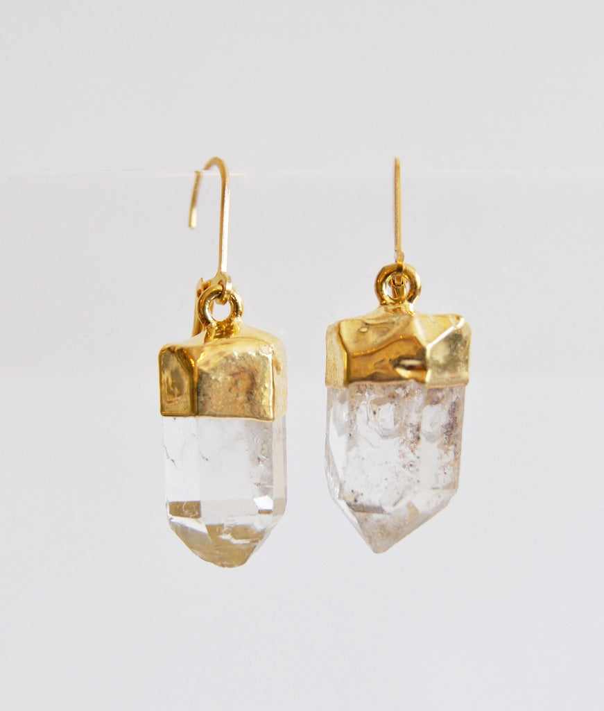 Quartz Crystal Earrings dipped in Gold