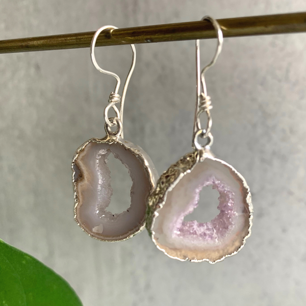 Druzy Earrings Edged in Silver
