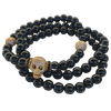 Gold Plated Pave Skull & Gemstone Bracelet Set Men
