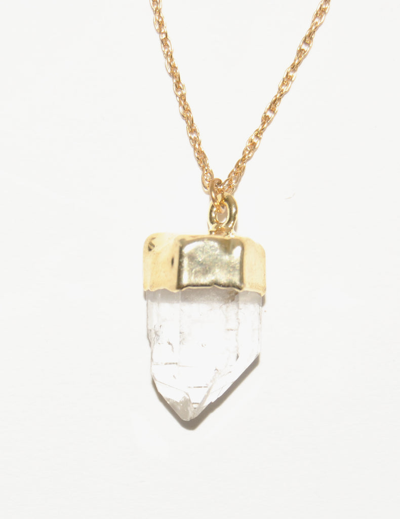 Quartz Crystal Necklace dipped in Gold