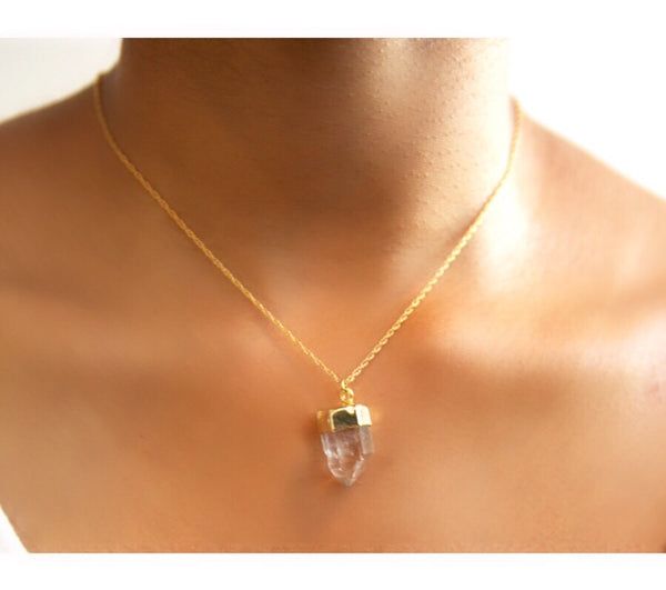 Crystal Quartz Point Necklace dipped in Gold