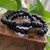 Tigers Eye &  Black Obsidian Gemstone Bracelet