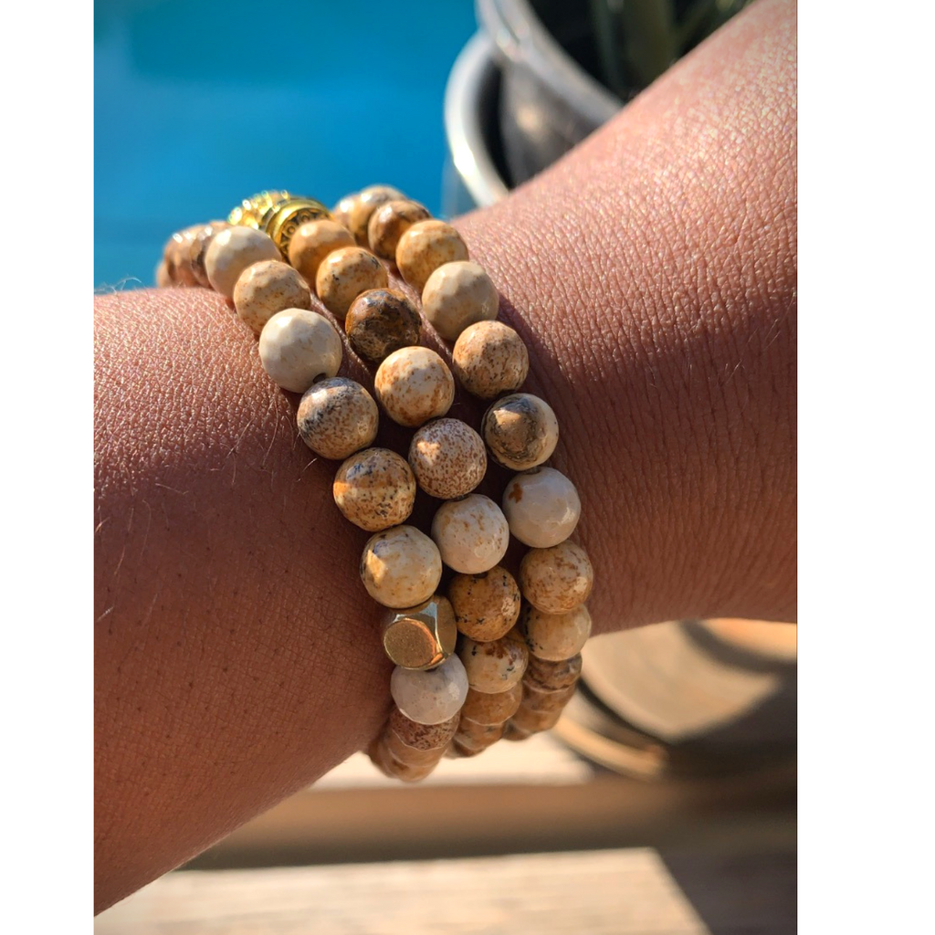 Picture Jasper Buddha Gemstone Bracelet Set of 2