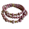 Rhodochrosite Gemstone Bracelet Gift Set of 3