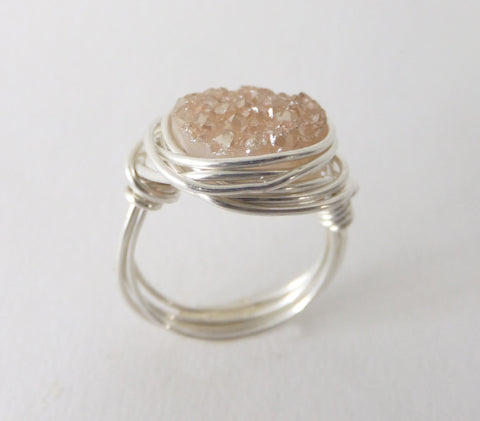 Champagne Druzy Quartz Wire Wrapped Ring