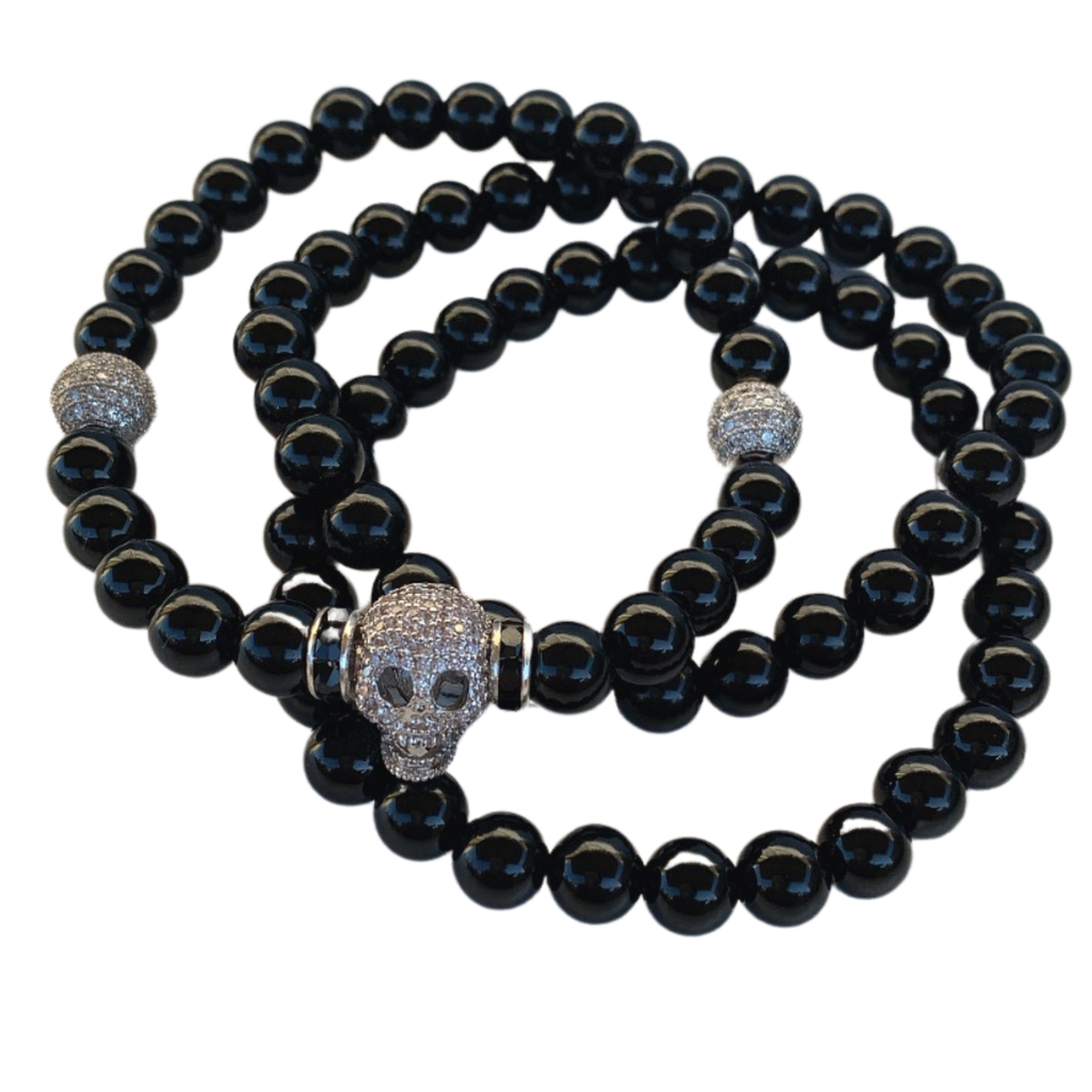 Silver Plated Pave Skull & Gemstone Bracelet Set Men