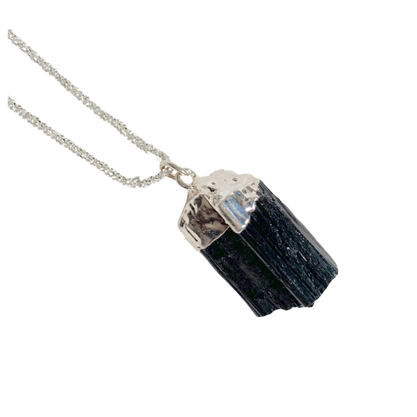 Black Tourmaline Crystal Necklace dipped in Silver