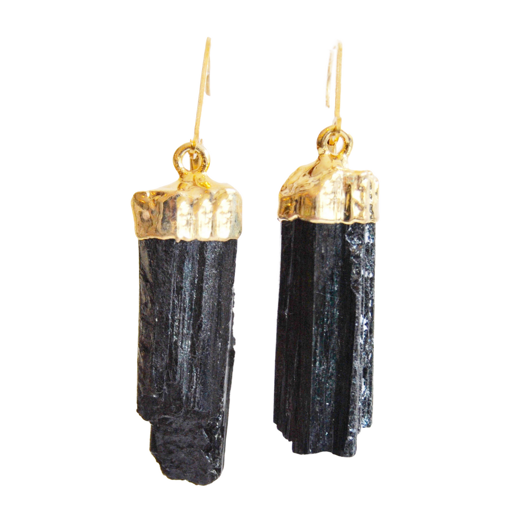 Black Tourmaline Crystal Earrings dipped in Gold