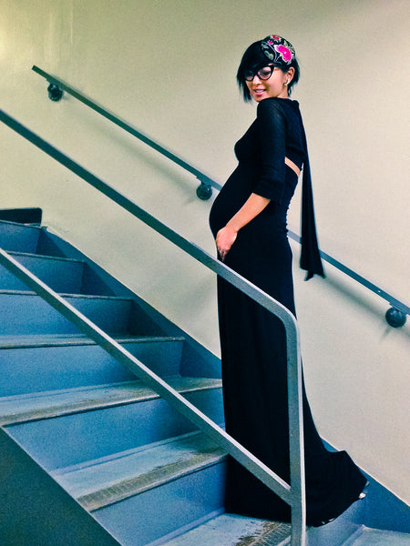 What to wear while pregnant: slinky maxi dress