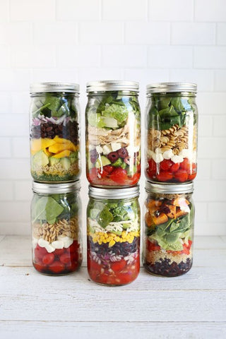 layered mason jar salads