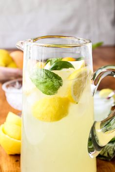homemade basil lemonade
