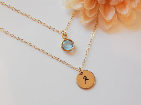 initial and birthstone necklaces