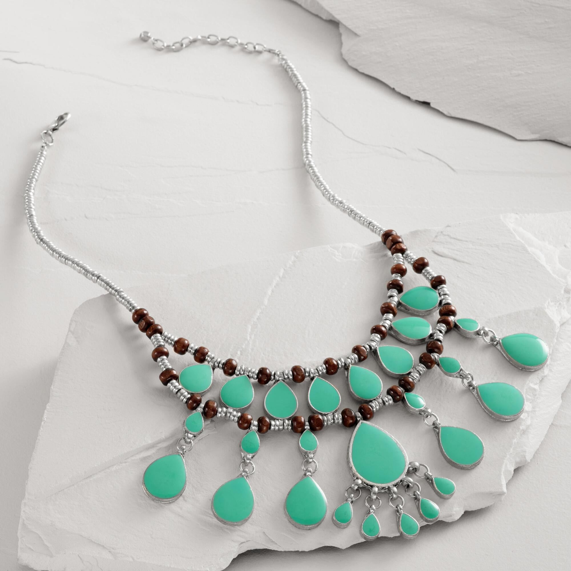 Turquoise Tile Chadelier Necklace