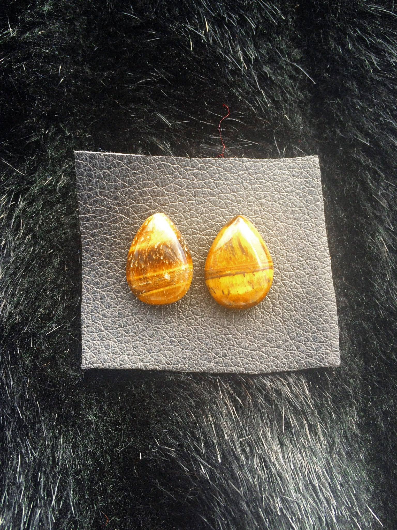 Tigers Eye Droplet Gem Studs