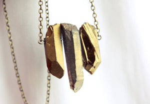 Rough Gold Aura Quartz Crystal Necklace