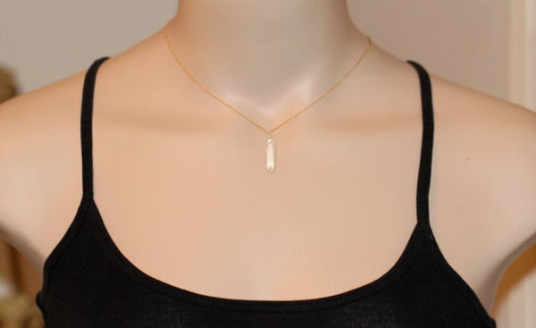 Polished Quartz Necklace on 14kt Plated Necklace