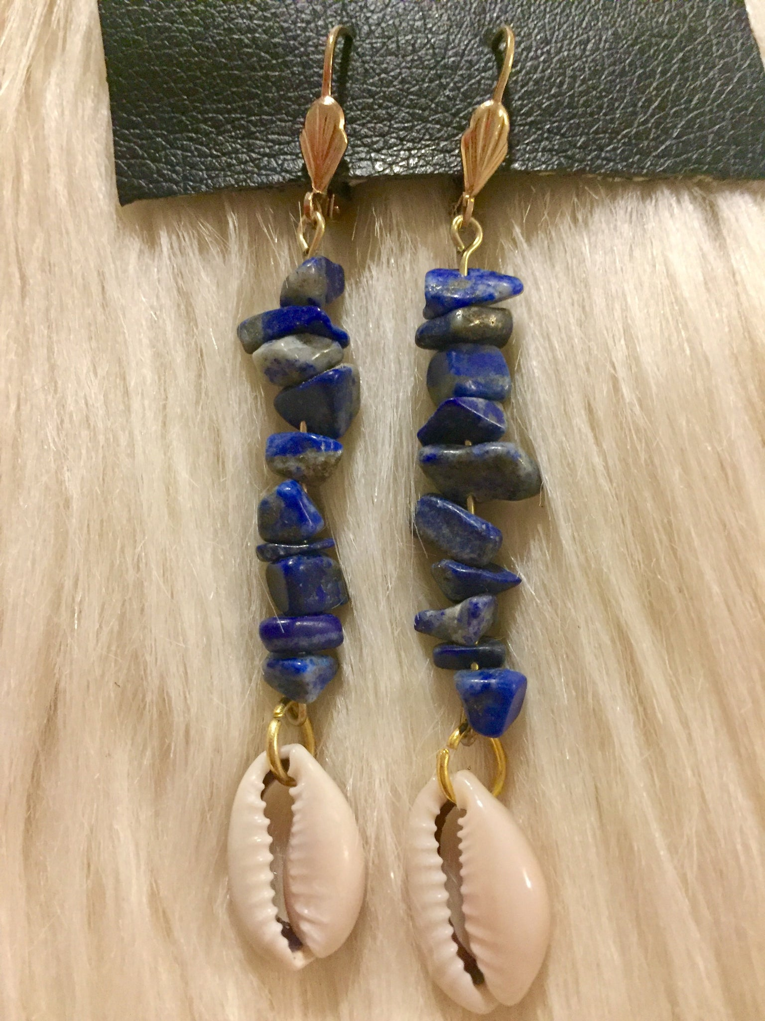 Lapis Cowrie Earrings