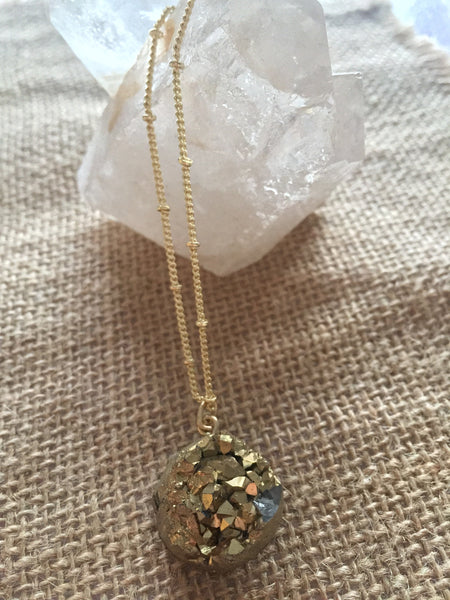 Golden Nug Druzy Necklace