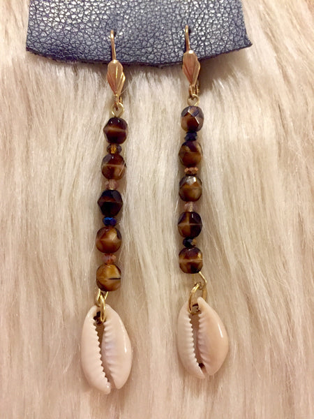 Tigers Eye Cowrie Earrings