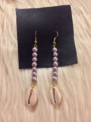 Lavender Cowrie Earrings