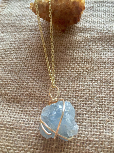 Celestine Gemstone Necklace